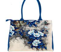 Blue flower digital hand-painted leisure cloth bag 2015 new canvas bag shoulder bag portable package