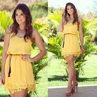 2015 New Summer Vestido Chiffon Femininos Yellow Lace Dress With Belt Casual Womens Dresses