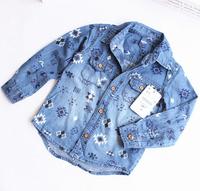 CS44 new 2015 boys denim shirt  2-10 age long sleeve casual dress kid shirt for boys clothes free shipping 6pcs/ lot