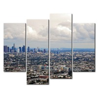 3 Piece Wall Art Painting Los Angeles House Crowd Picture Print On Canvas City 4 5 The Picture Home Decor Oil Prints
