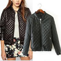 2014 New Autumn Winter Women Faux Leather Jacket Coat Black Zipper Long Sleeve Casual Leather Baseball Parka Clothing