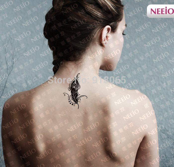 pfauenfeder tattoo aufkleber wasserdicht sexy handgelenk arm schulter nieder tempor re tattoos. Black Bedroom Furniture Sets. Home Design Ideas
