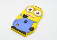 for samsung galaxy S4mini S4 SIV Mini i9190 3D Rubber Cartoon Despicable Me Silicon Cute Yellow Minion Case Cover FA014