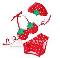 Free Shipping 5pcs/lot Fashion Strawberry Swimwears Girl's Bikini Swimming Suits GL-002