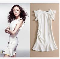 Elegant Women Evening Fishtail Dress Sleeveless Ruffles Sleeve Sexy Bandage Slim Fit Vestido S-XL White Color Party Dress