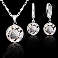 """8MM Single Crystal Stone Real Pure S925 Sterling Silver Jewelry Sets Necklace Hoop Earring Set With 18"""" Singapore Chain Gift"""