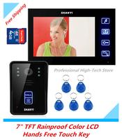 """7"""" TFT 4G SD Card Rainproof Color LCD Video Door Phone Hands Free Video Intercom Door Bell Doorbell IR Night Vision Touch Key"""