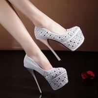 2015 utumn ultra high heels sexy shoes fashion rhinestone thin heels women's high-heeled shoes platform round toe princess shoes