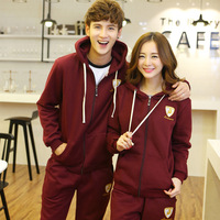 Autumn and winter lovers sweatshirt set casual sports pants plus size with a hood plus velvet thickening outerwear spring and
