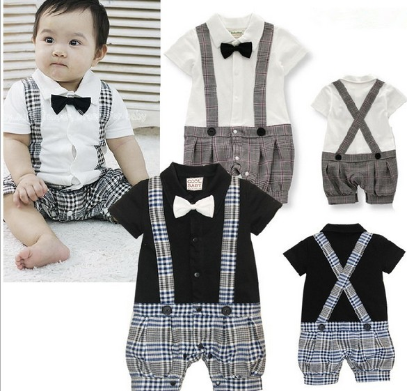 Summer newborn baby Clothing sets jumpsuit Cotton boys romper short sleeve Baby gentleman Straps Rompers 0-2 years white black(China (Mainland))