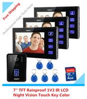 "7"" TFT Rainproof 1V3 Video Door Phone Visual Intercom Doorbell Video Record IR Night Vision Touch Key Color LCD Hands Free"
