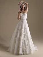 Unique Design Sweetheart Handmade Flower Wedding Dresses Princess Organza Beaded Open Back Bridal Gown 2014 New Arrival