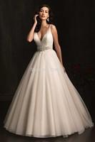 Sexy V Neck Ball Gown Wedding Dresses vestido de noiva 2014 Women Floor Length Bridal Gowns Fast Shipping