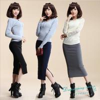 Woman Temperament Long Skirts Rib Knit Skirt Split Skirts Slim Including Hip Free Shipping