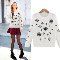 Women Autumn Sweater 2014 Winter Women Knit Sweater Pullover Ladies Long Sleeve Embroidered Loose Winter Sweaters LJ319DB