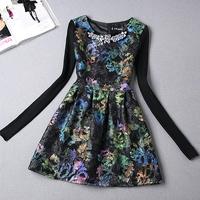S-XL  Europe America size women's autumn winter 2015 Hitz temperament women's flower print long sleeve dress tutu dress #XU020