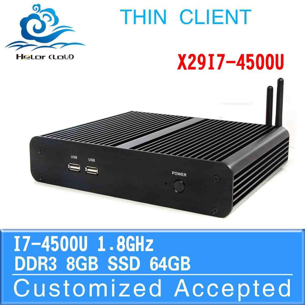 ultra-low-power fanless thin client x29-i7 4500u dual core x86 mini pc 8g ram 64g ssd newest market 4K display tv pc station(China (Mainland))
