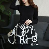 high quality 2015 new spring vintage dresses women casual patchwork print long sleeve slim elegant black mini tutu dress S-XL