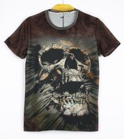 DCBH-Skull t-shirt male personality t-shirt short-sleeve 3d three-dimensional pattern clothes