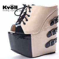 2015 Fashion sexy high-heeled platform wedges sandals ultra high platform slippers nightclub open toe shoes