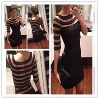 2015 New Vestidos Stripe Dress Dresses Evening Fashion Women Ladies Dress Plus Size S-XL
