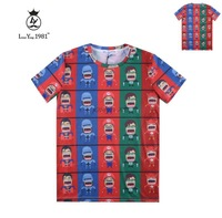 [Joslyn]New 2015 fashion Cartoon superman print Round collar short sleeve T-shirt men/boy summer t shirt