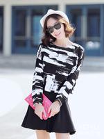 2015 new winter spring European dresses women vintage casual ink print long sleeve tops elegant ruffles mini tutu dress S-XL