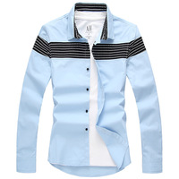Hot Spring 2015 New Slim Stitching Wild Casual Fashion Long-sleeved Shirt ,Men Long-sleeved Shirt BHT0040