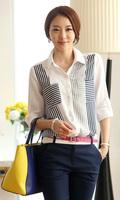 2015 Fashion Women's Chiffon Shirt  Stripe Pockets Casual Loose Chiffon Blouses Peter Pan Collar