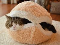 Kitty Hamburger Litter Disassemblability Windproof Pet Nest Shell Cat Bed Hiding Burger Bun Pet Cat Bed Free Shipping CX675862