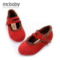 2014 winter children shoes little girls cotton-padded shoes baby warm shoes flock thermal flat for little girls 7 size 14/20