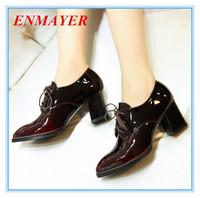 ENMAYER lace-up  square heels basic Leisure  pumps Gradient cow Patent Leather pumps large size:34-43 red yellow  women's pumps
