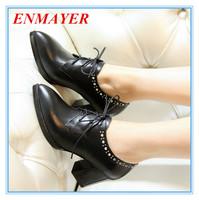 ENMAYER large size:34-43 black women pumps solid Rivets lace-up square heels shoes for women Summer/spring Genuine Leather pumps