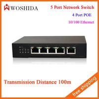 Woshida 5 Port Network Switch 4 Port POE 10/100 Ethernet 48V 2A Transmission Distance 100M