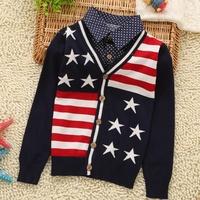 2015 new trend mock two pcs unisex children clothing  polka dot  baby boy  shirts kids knitwear striped cardigan
