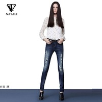 26-32 2015 Spring  brand new woman slim pencil  pants  vintage retro ripped casual jeans pants   plus size casual pants C2241
