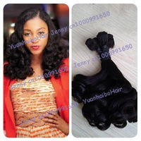 Top 6A quality 3pcs/lot #1b spiral bouncy curl virgin brazilian funmi hair extensions for black women free shipping