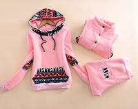 2014 Womens Sportswear Set Winter Plus Velvet Casual Cotton Pullover Plus size Women Sweatshirt 3pcs/set  6 Colors Top Quality