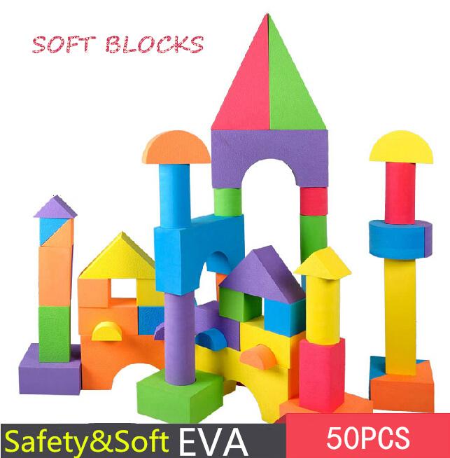 50 pcs Colorful Large EVA Soft Blocks Foam Building Blocks For Kids Children Toy S(China (Mainland))
