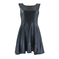 High Quality PU Leather Black Casual Dress Women Skater Pleated Dresses Plus Size