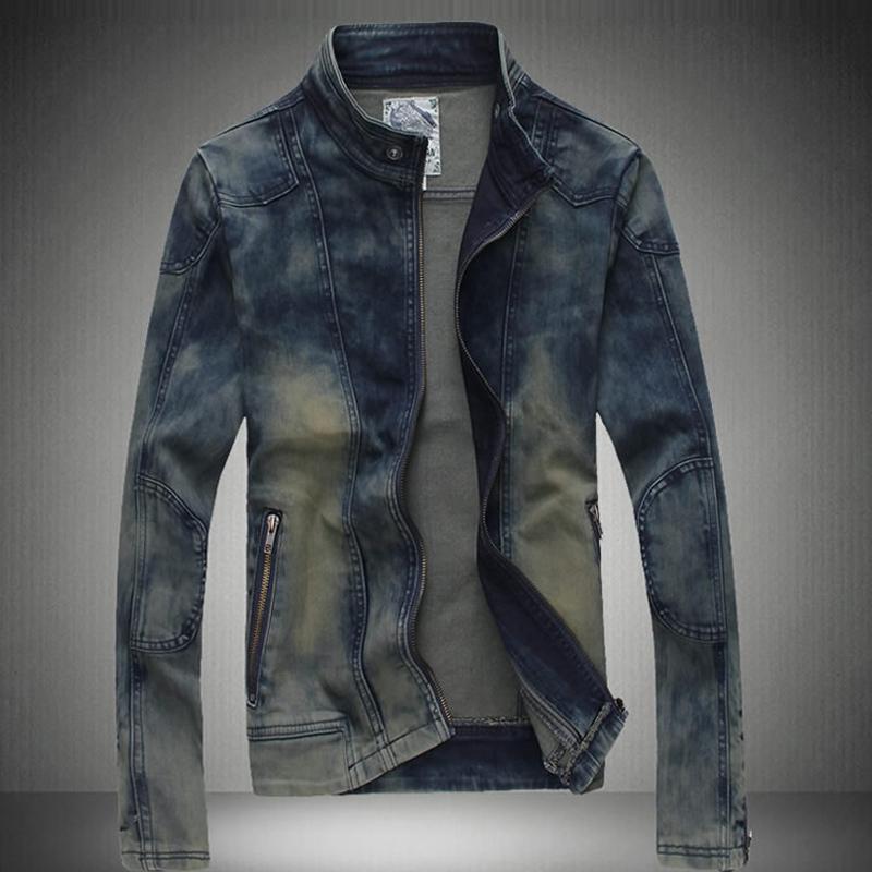 2015 New Spring Fall Fashion Men Acid Wash Zipper  Mandarin Collar Denim Jacket , Male Casual Cool Stylish Jeans Slim Jackets(China (Mainland))