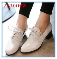 ENMAYER grade PU soft leather women's flats five colors plain solid shoes for women  Spring/ Summer baisc lace-up Casual flats