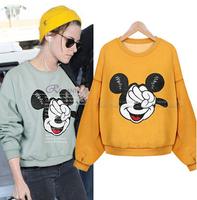 Cartoon Print Women Hoodies Long Sleeve Pullovers Cotton Sweatshirt Mouse Pattern 2015 New Female Hoodies S-XL