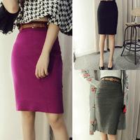 2015 Korean Fashion Womens High Waist Midi Pencil Knitted Skirt Bodycon Slim Tube Stretch Saias Skirts Plus Size With Belt