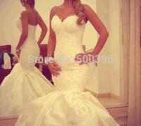Stylish Mermaid Wedding Dress 2015 novia Sweetheart Garden Bridal Gowns Lace & Organza Formal Dress New