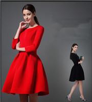 high quality 2015 new spring vintage dresses women casual high waist three quarter slim elegant solid black red tutu dress S-XL