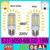 AC220V-240V E27 5050SMD 69LEDs 15W High Quality Bright Corn LED Bulb Wall Lamps Ceiling light White 6500K or Warm White 3200K