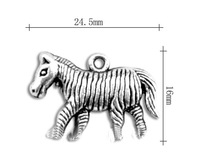 free shipping 50pcs a lot antique silver plated vintage 3D zebra animal charms jewelry accessory