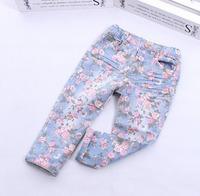 Hot Sell Retro floral jeans for girls children denim pants
