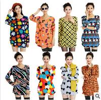 2015 new European and American women's fall fashion loose big yards Bohemian printed long-sleeved dress bottoming